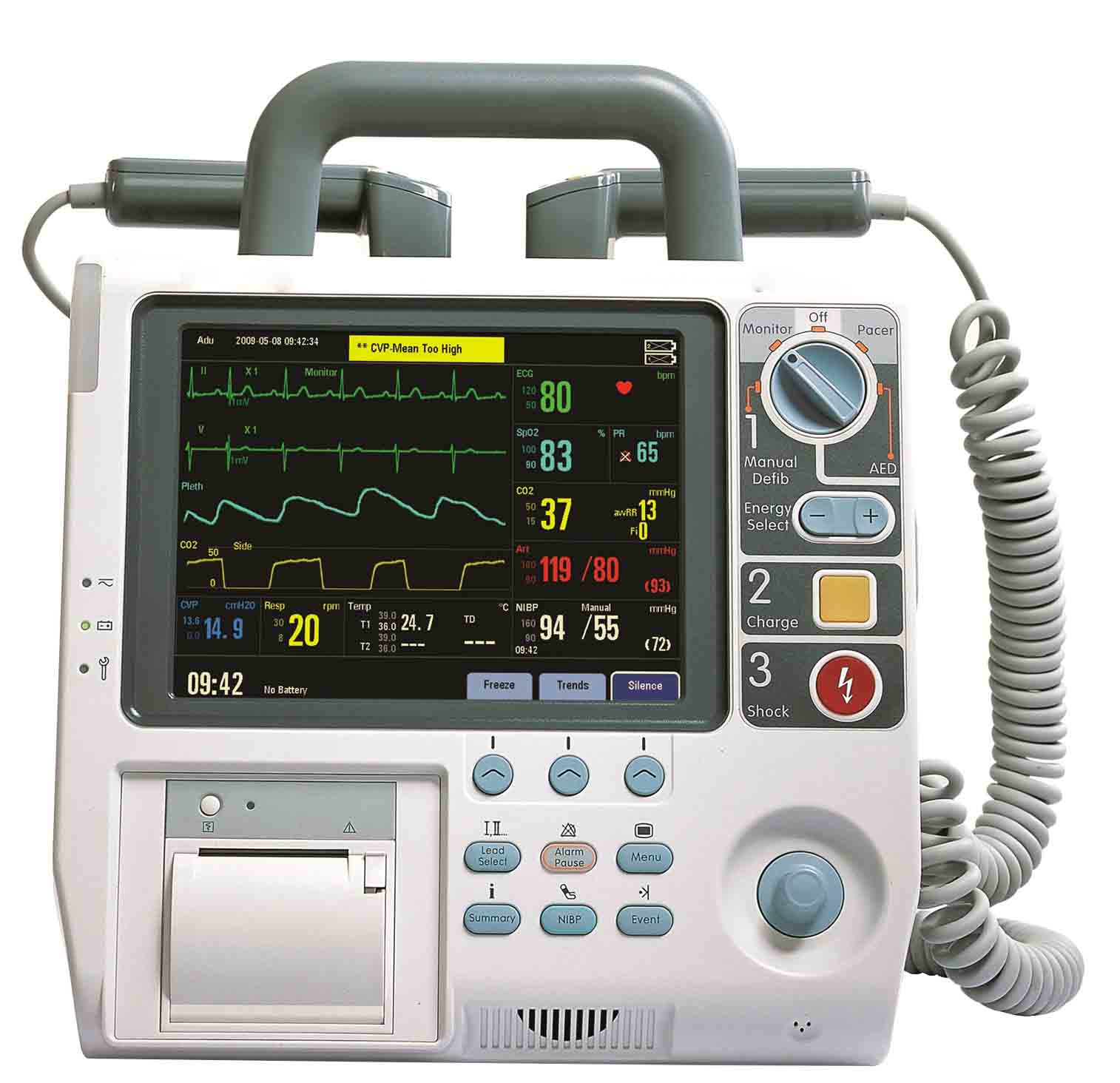 AED cable application for Defibrillator Paddle