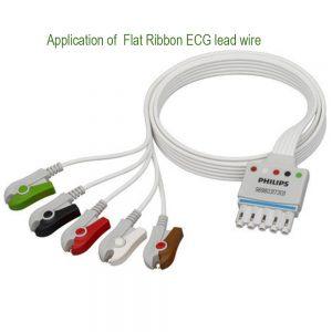 Flat ribbon 5 lead ECG leadwire